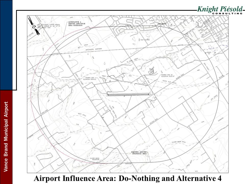 Vance Brand Municipal Airport Airport Influence Area: Do-Nothing and Alternative 4