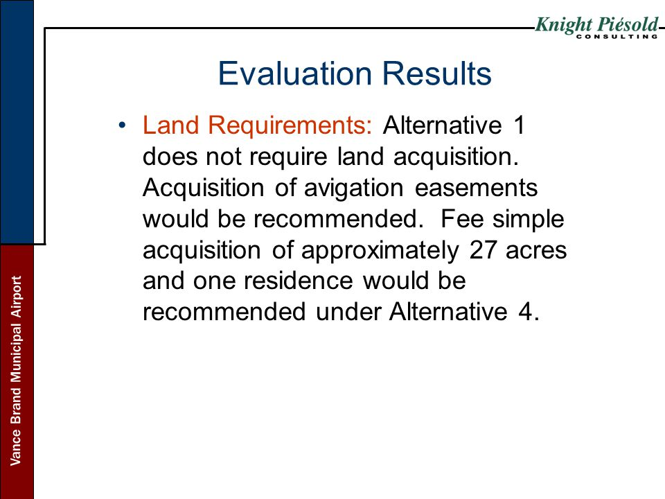 Vance Brand Municipal Airport Evaluation Results Land Requirements: Alternative 1 does not require land acquisition. Acquisition of avigation easement