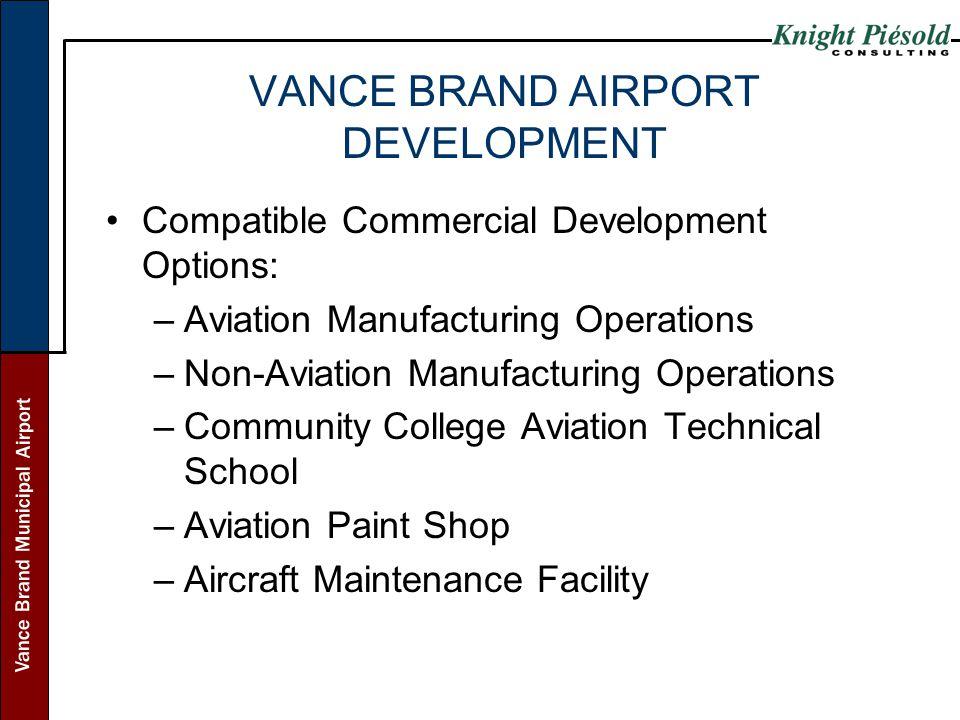 Vance Brand Municipal Airport VANCE BRAND AIRPORT DEVELOPMENT Compatible Commercial Development Options: –Aviation Manufacturing Operations –Non-Aviat