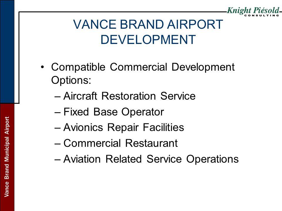 Vance Brand Municipal Airport VANCE BRAND AIRPORT DEVELOPMENT Compatible Commercial Development Options: –Aircraft Restoration Service –Fixed Base Ope