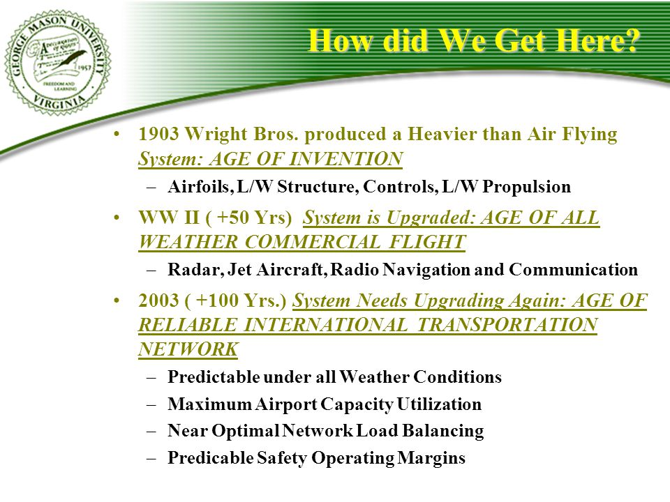 How did We Get Here? 1903 Wright Bros. produced a Heavier than Air Flying System: AGE OF INVENTION –Airfoils, L/W Structure, Controls, L/W Propulsion