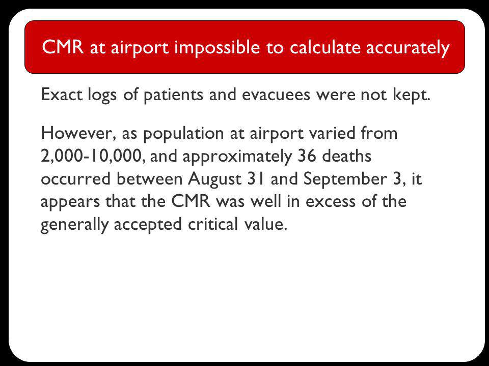 CMR at airport impossible to calculate accurately Exact logs of patients and evacuees were not kept.