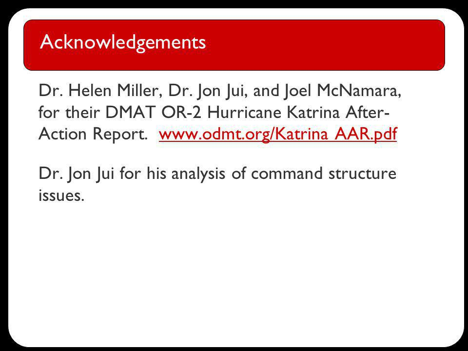 Acknowledgements Dr. Helen Miller, Dr.