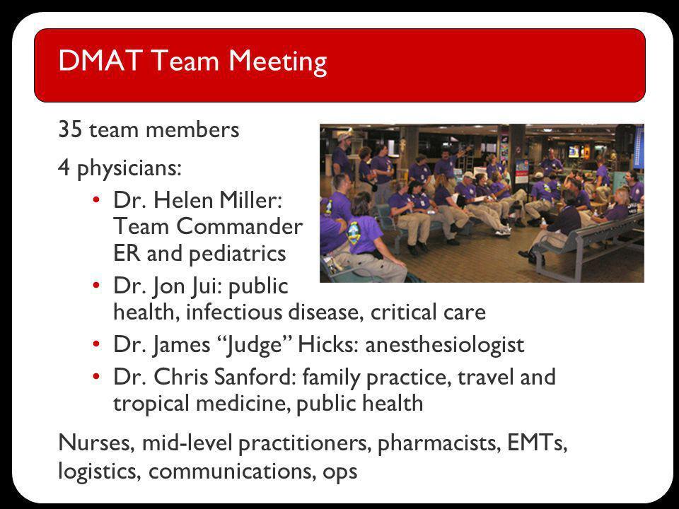 DMAT Team Meeting 35 team members 4 physicians: Dr.
