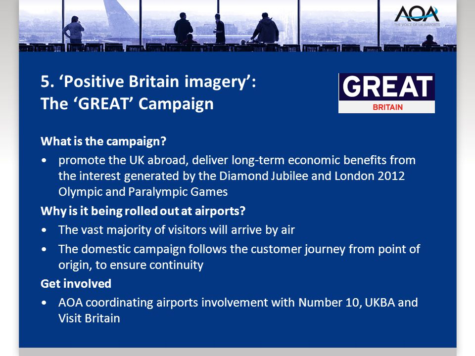 5. Positive Britain imagery: The GREAT Campaign What is the campaign.