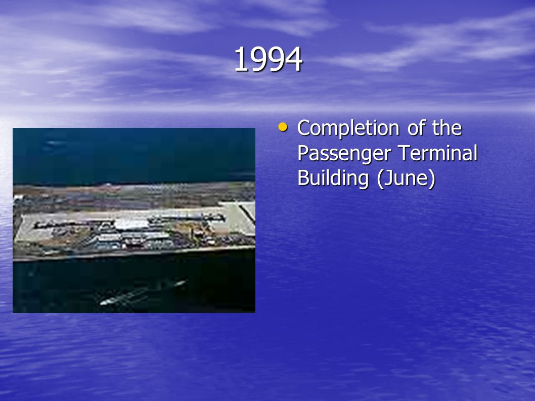 1994 Completion of the Passenger Terminal Building (June) Completion of the Passenger Terminal Building (June)