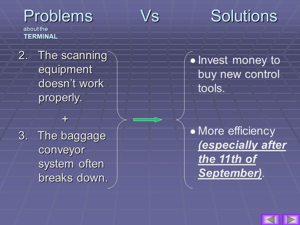 Problems Vs Solutions about the TERMINAL 2. The scanning equipment doesnt work properly.