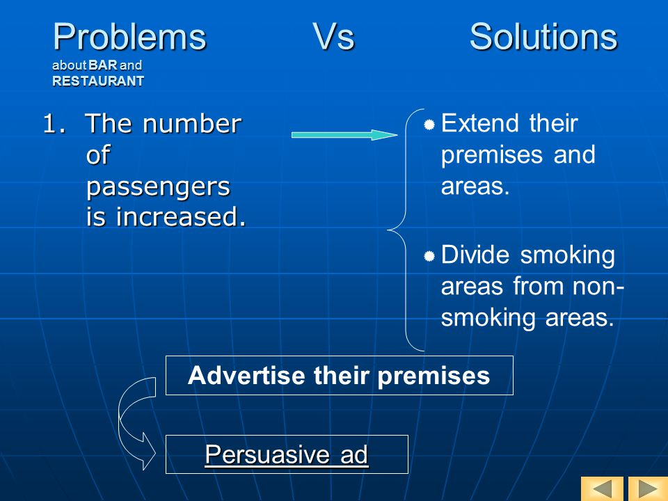 Problems Vs Solutions about BAR and RESTAURANT 1. The number of passengers is increased.