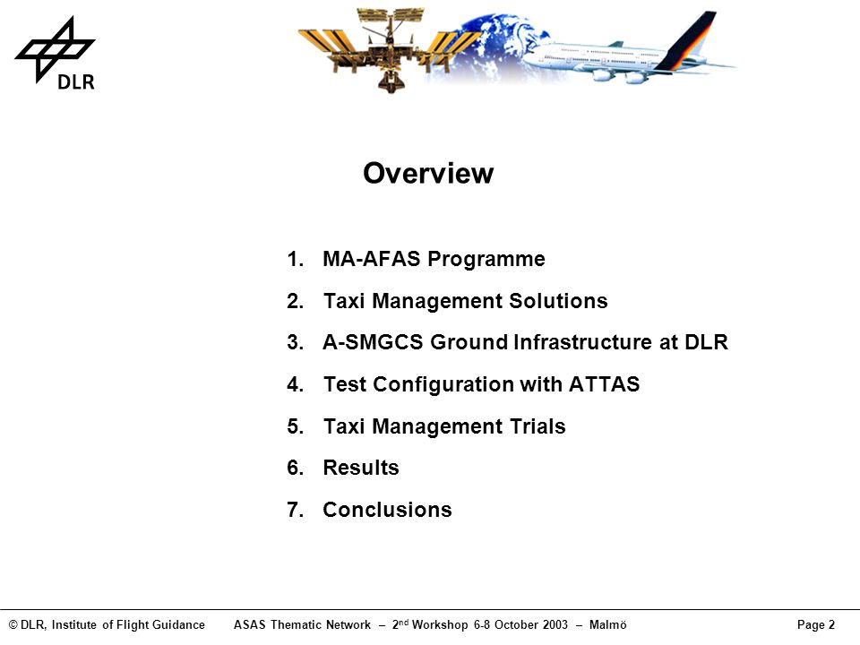 © DLR, Institute of Flight GuidanceASAS Thematic Network – 2 nd Workshop 6-8 October 2003 – MalmöPage 2 Overview MA-AFAS Programme Taxi Management Sol