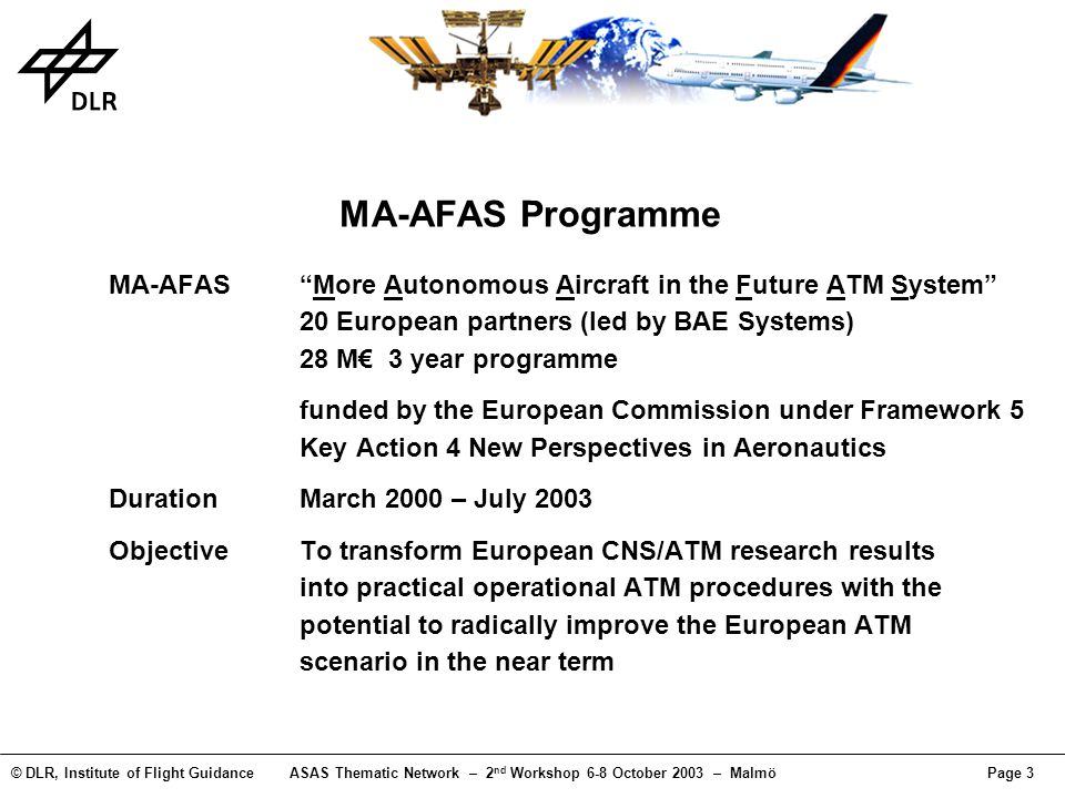 © DLR, Institute of Flight GuidanceASAS Thematic Network – 2 nd Workshop 6-8 October 2003 – MalmöPage 3 MA-AFAS Programme MA-AFASMore Autonomous Aircr