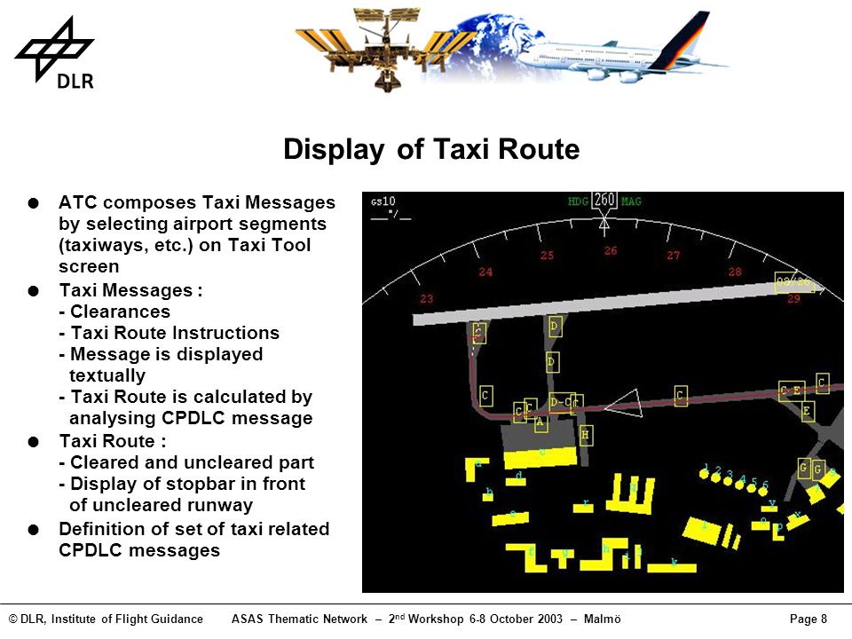 © DLR, Institute of Flight GuidanceASAS Thematic Network – 2 nd Workshop 6-8 October 2003 – MalmöPage 8 Display of Taxi Route ATC composes Taxi Messag