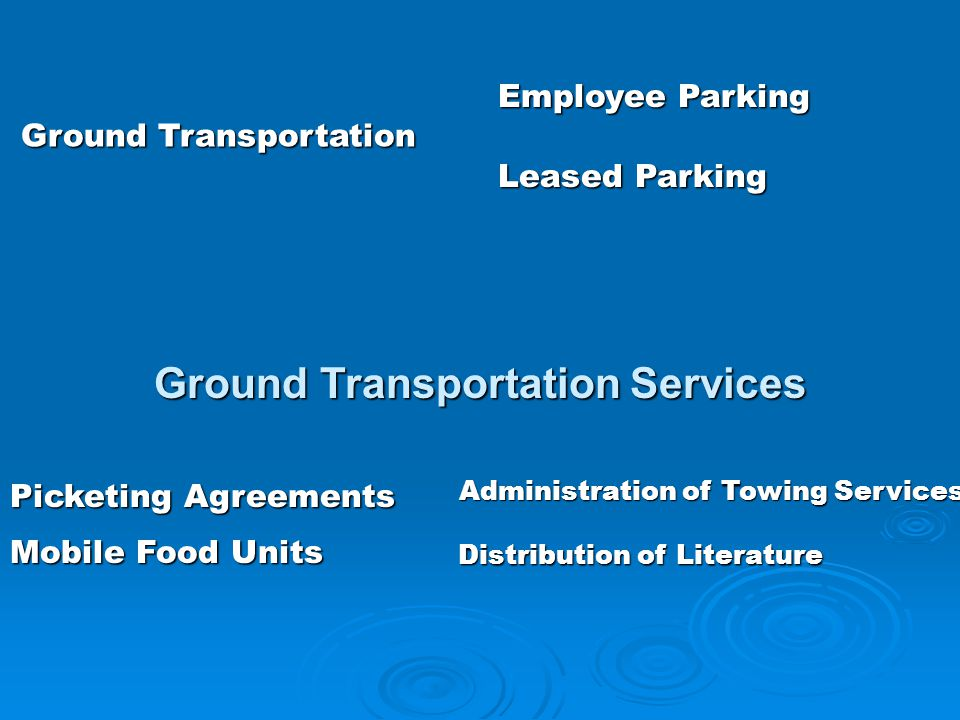 Ground Transportation Services Employee Parking Ground Transportation Ground Transportation Administration of Towing Services Administration of Towing Services Mobile Food Units Leased Parking Distribution of Literature Picketing Agreements
