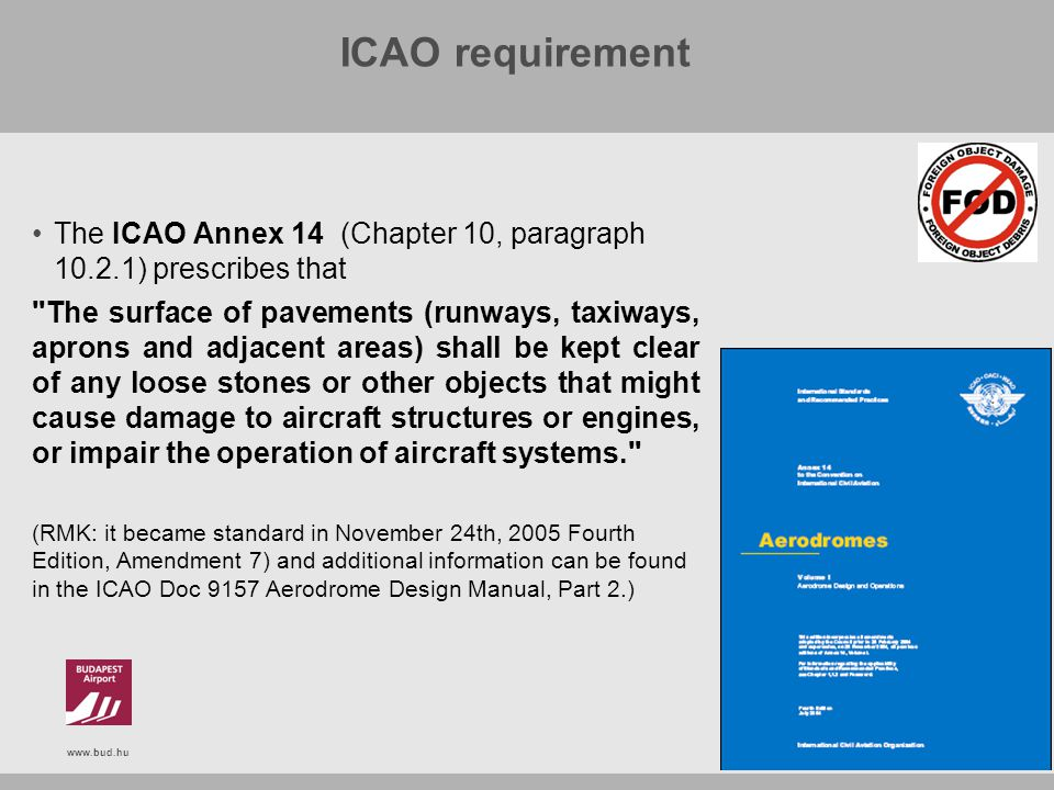 www.bud.hu ICAO requirement The ICAO Annex 14 (Chapter 10, paragraph 10.2.1) prescribes that