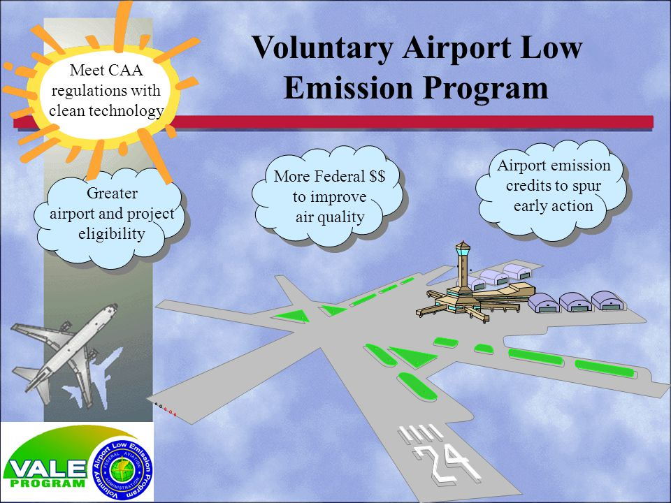 Voluntary Airport Low Emission Program Meet CAA regulations with clean technology More Federal $$ to improve air quality Airport emission credits to spur early action Greater airport and project eligibility