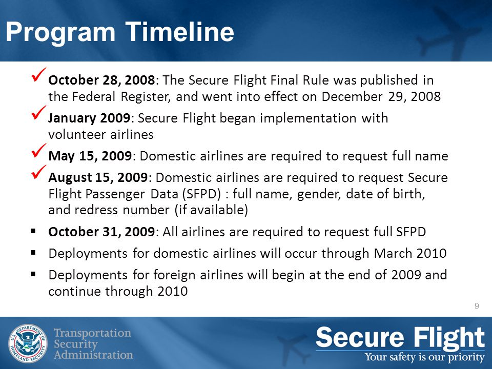 TSA will measure airline compliance against requirements identified in the Secure Flight Final Rule and in the covered airlines security programs.