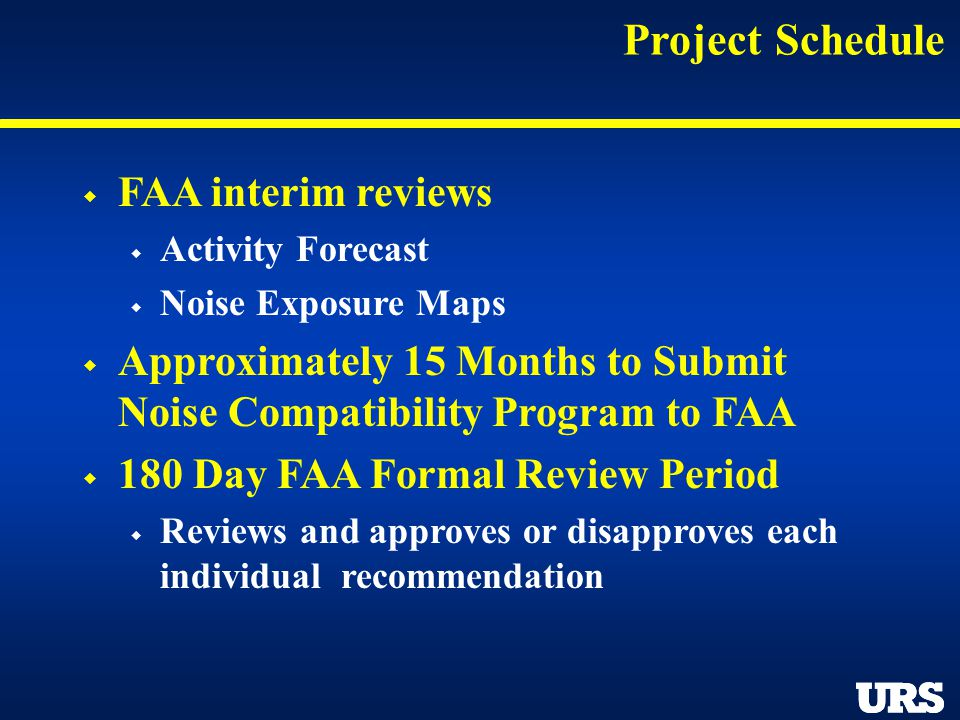 Project Schedule FAA interim reviews Activity Forecast Noise Exposure Maps Approximately 15 Months to Submit Noise Compatibility Program to FAA 180 Da