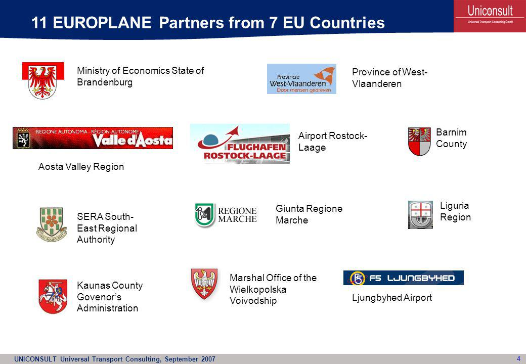 UNICONSULT Universal Transport Consulting, September 2007 15 EUROBIRD Project: Some more details About 15 regions incl.