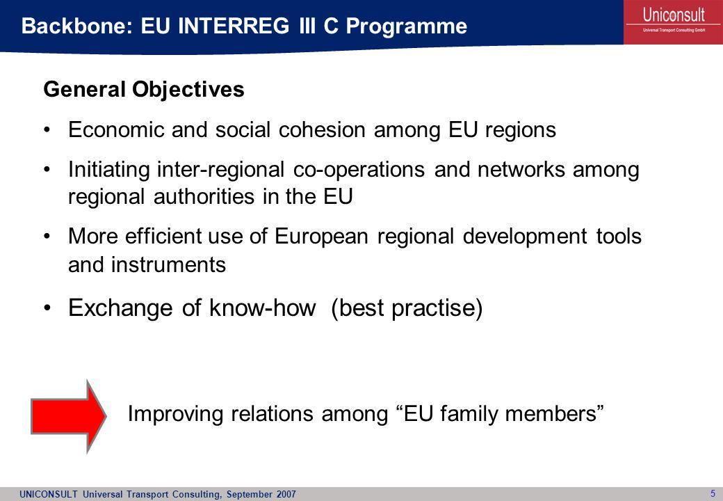 UNICONSULT Universal Transport Consulting, September 2007 6 The EUROPLANE project partners (regional authorities) were aware of the relevance of regional airports for spatial, socio- economic and regional development and had: –pro-actively utilised the INTERREG III C programme opportunities –initiated a joint approach to combine their interests as they are responsible for their regional airports –successfully applied for an EU co-financing of Euro 560.000 (66% of project costs) –to cover activities and to answer questions which are necessary for the development of their regional airports Approach of EUROPLANE in INTERREG III C