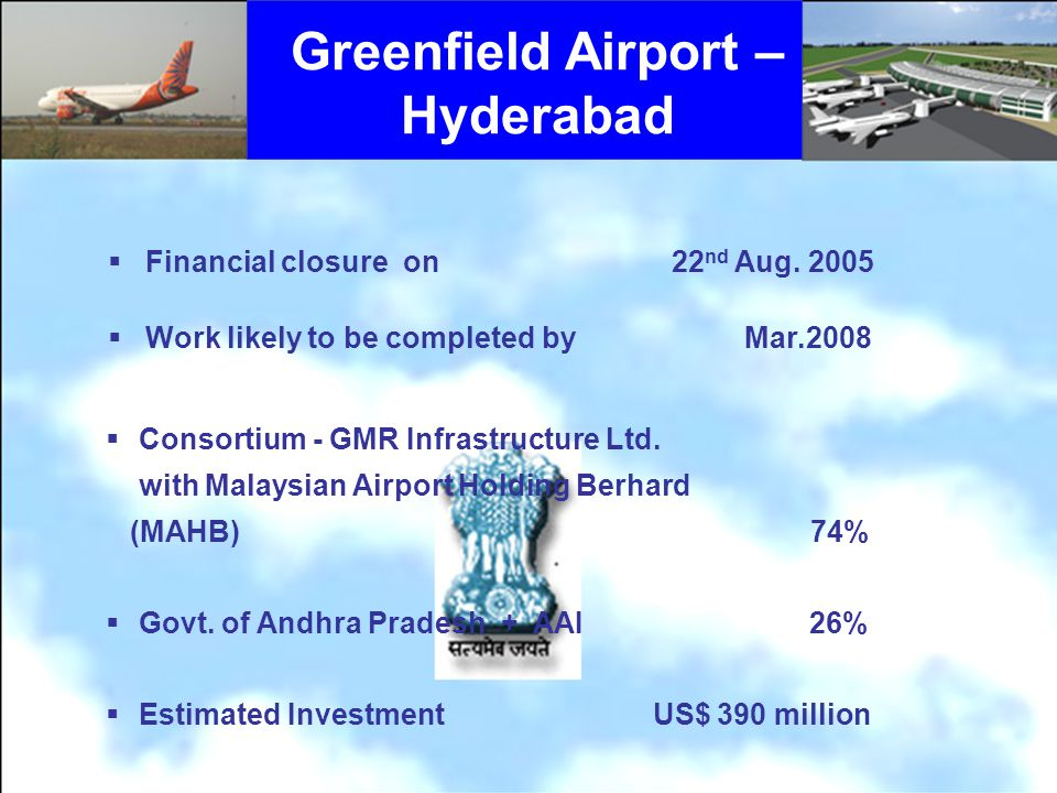 Greenfield Airport – Hyderabad Financial closure on 22 nd Aug.
