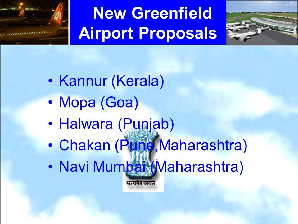 Kannur (Kerala) Mopa (Goa) Halwara (Punjab) Chakan (Pune,Maharashtra) Navi Mumbai (Maharashtra) New Greenfield Airport Proposals