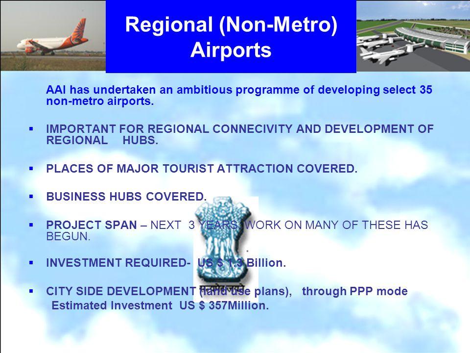 Regional (Non-Metro) Airports AAI has undertaken an ambitious programme of developing select 35 non-metro airports. IMPORTANT FOR REGIONAL CONNECIVITY