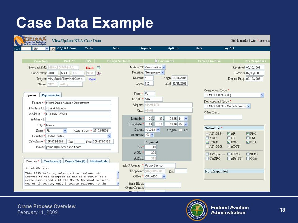 Federal Aviation Administration 13 Crane Process Overview February 11, 2009 Case Data Example