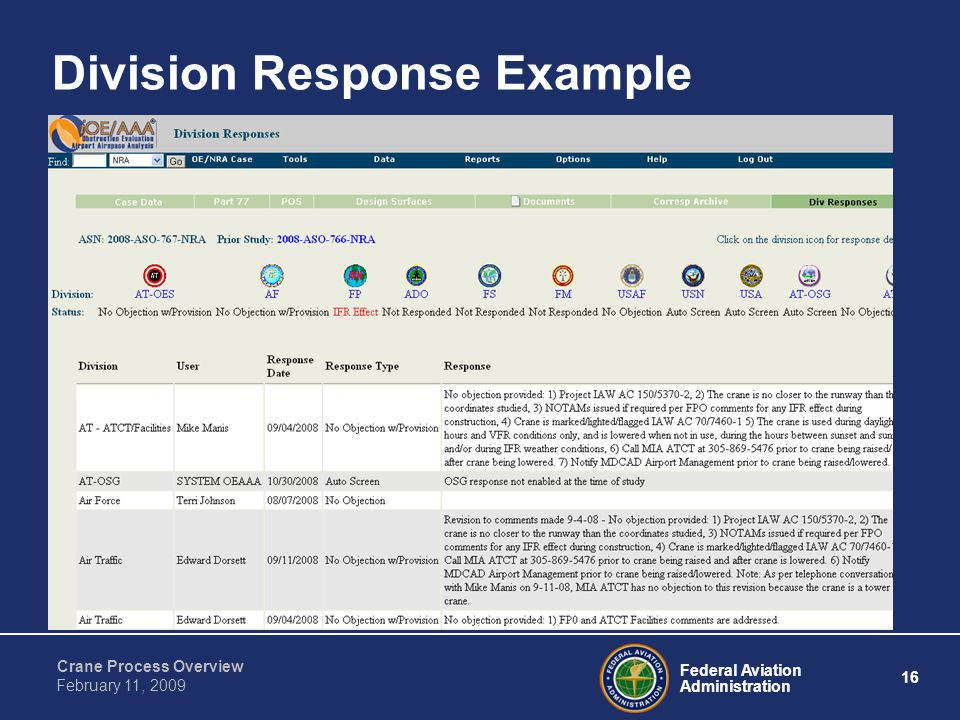 Federal Aviation Administration 16 Crane Process Overview February 11, 2009 Division Response Example