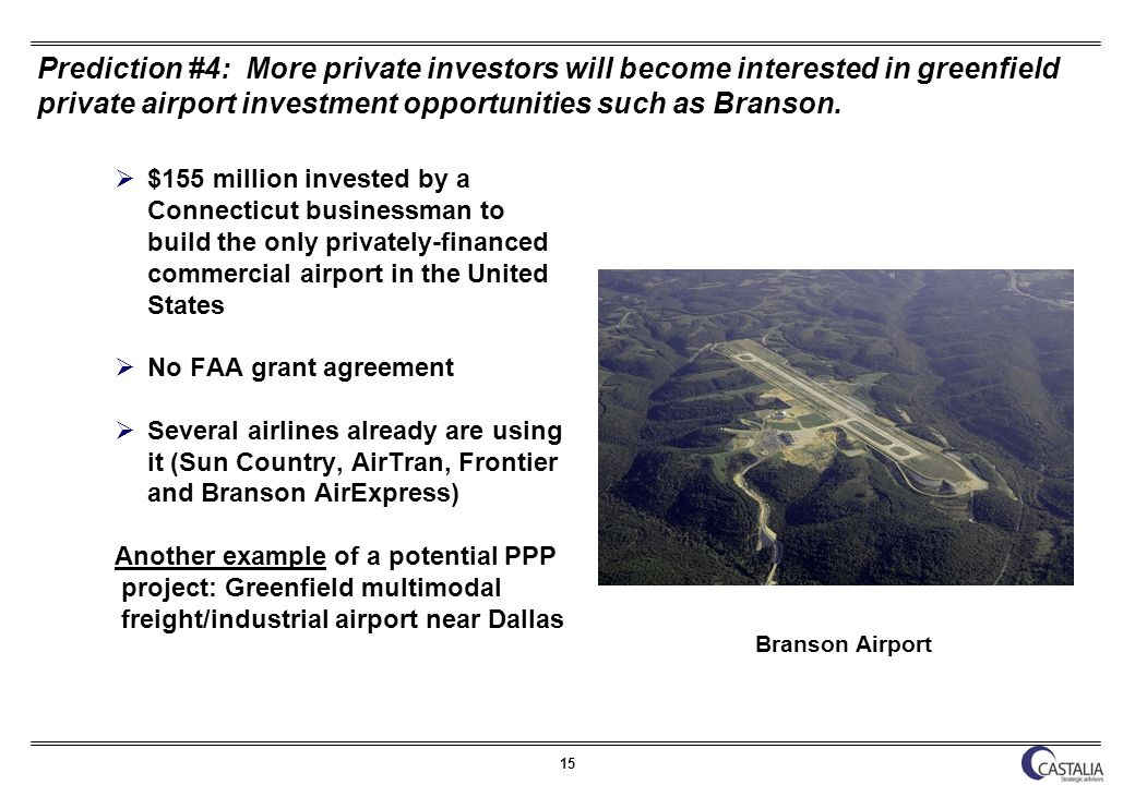 15 Prediction #4: More private investors will become interested in greenfield private airport investment opportunities such as Branson.