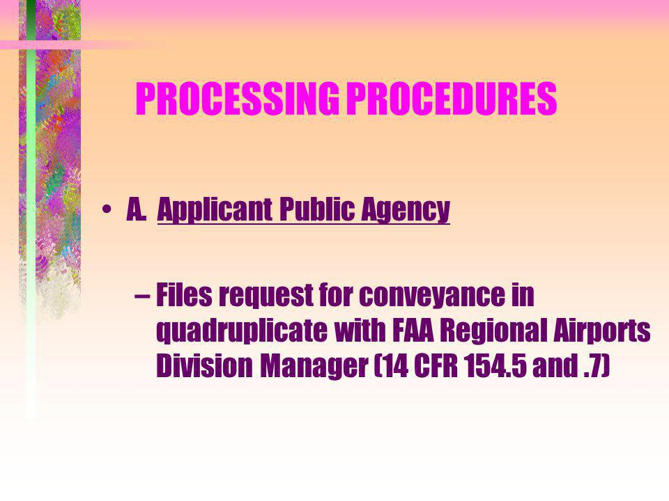 PROCESSING PROCEDURES A.