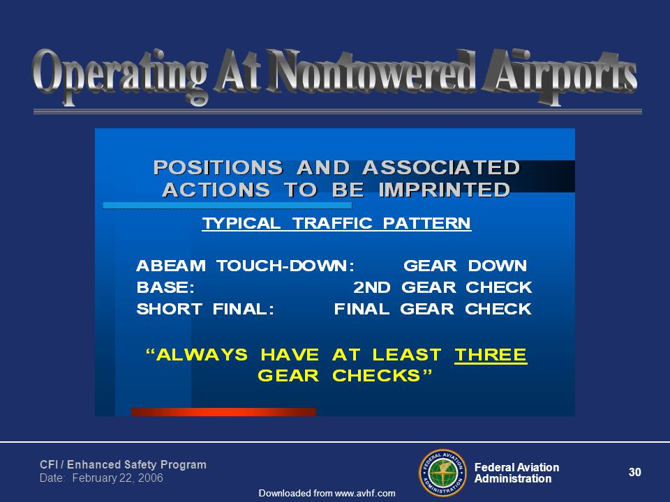 Federal Aviation Administration 30 CFI / Enhanced Safety Program Date: February 22, 2006 Downloaded from www.avhf.com