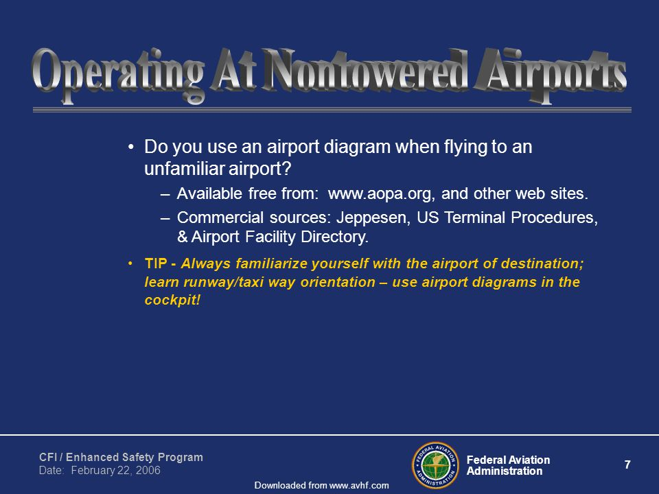 Federal Aviation Administration 7 CFI / Enhanced Safety Program Date: February 22, 2006 Downloaded from www.avhf.com Do you use an airport diagram when flying to an unfamiliar airport.