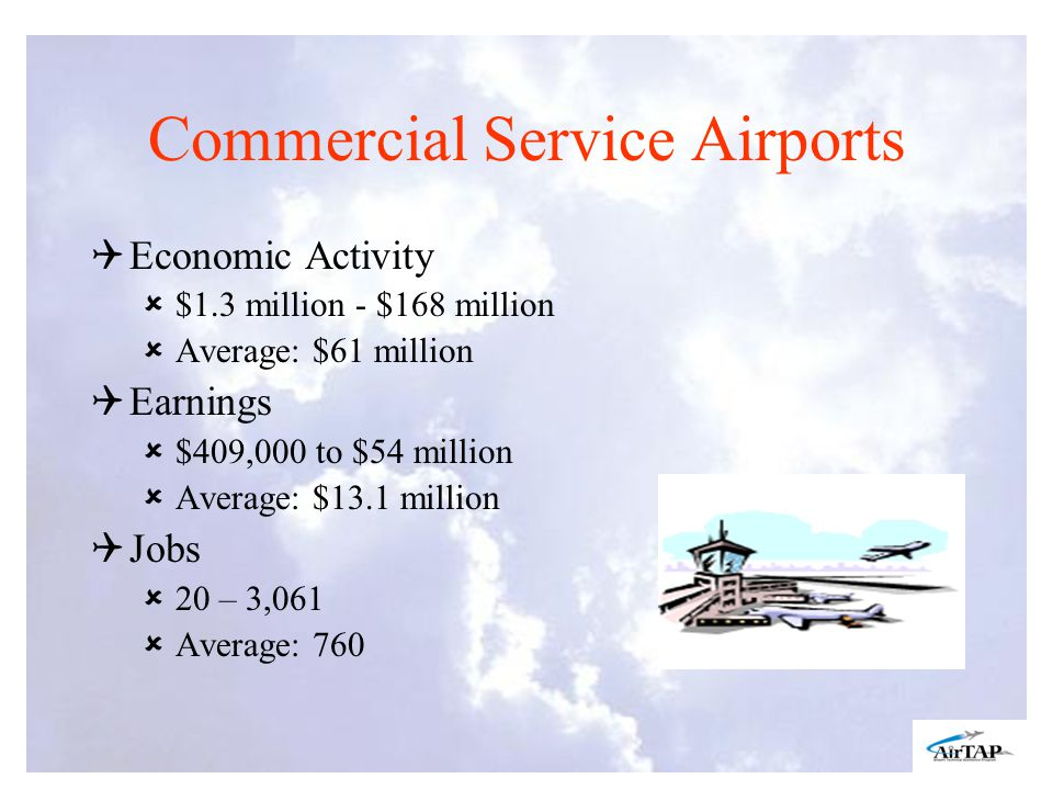 Commercial Service Airports Economic Activity $1.3 million - $168 million Average: $61 million Earnings $409,000 to $54 million Average: $13.1 million Jobs 20 – 3,061 Average: 760