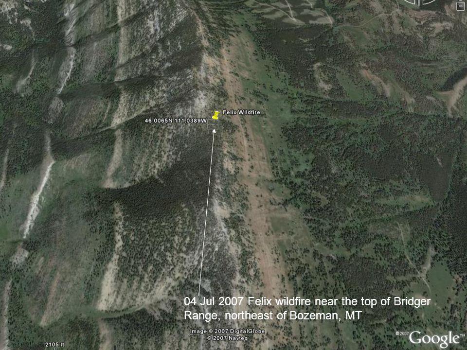 04 Jul 2007 Felix wildfire near the top of Bridger Range, northeast of Bozeman, MT