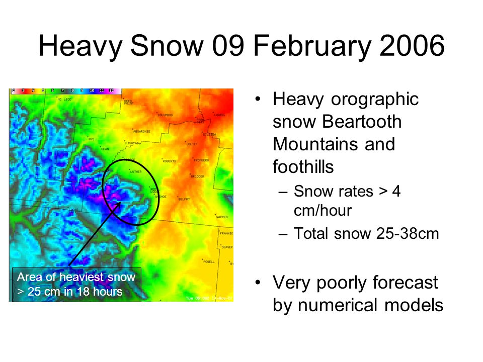 Great Falls, MT Radiosonde Observation (blue) valid 09 Feb 2006 00 UTC ~300km upstream from the Beartooth Mountains.