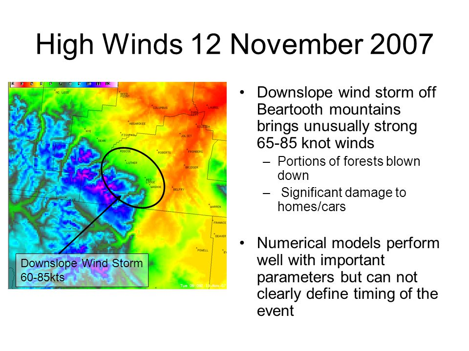 High Winds 12 November 2007 Downslope wind storm off Beartooth mountains brings unusually strong 65-85 knot winds –Portions of forests blown down – Significant damage to homes/cars Numerical models perform well with important parameters but can not clearly define timing of the event Downslope Wind Storm 60-85kts