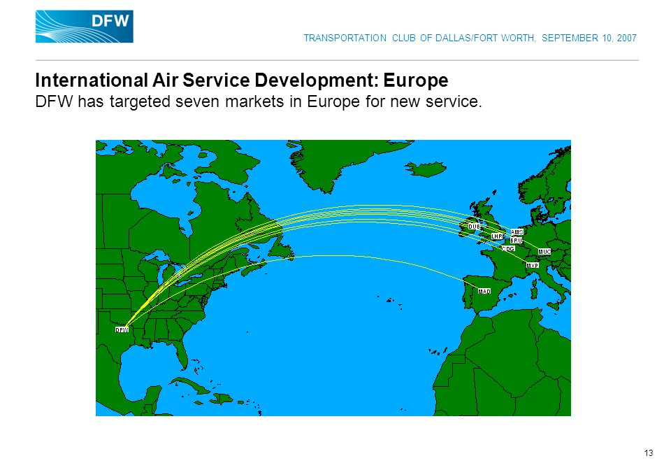 TRANSPORTATION CLUB OF DALLAS/FORT WORTH, SEPTEMBER 10, 2007 13 International Air Service Development: Europe DFW has targeted seven markets in Europe for new service.