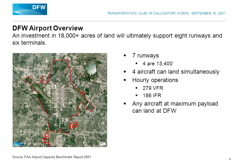 TRANSPORTATION CLUB OF DALLAS/FORT WORTH, SEPTEMBER 10, 2007 4 DFW Airport Overview An investment in 18,000+ acres of land will ultimately support eig