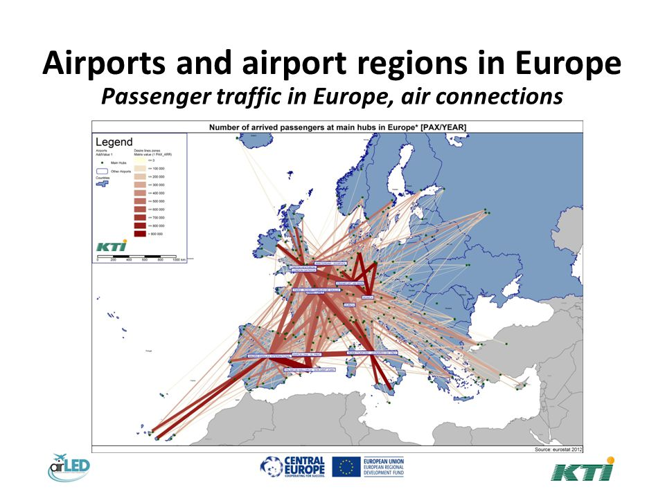 Airports and airport regions in Europe Passenger traffic in Europe, air connections