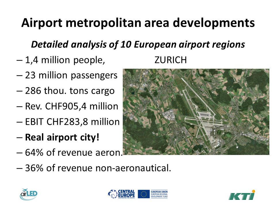 Airport metropolitan area developments Detailed analysis of 10 European airport regions – 1,4 million people,ZURICH – 23 million passengers – 286 thou.