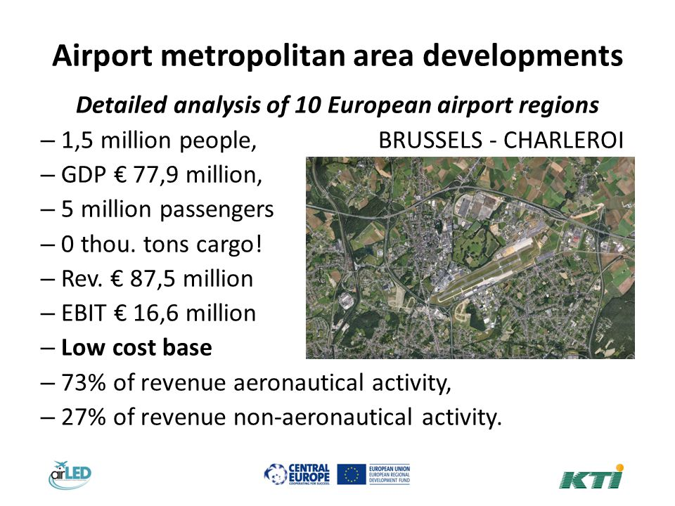 Airport metropolitan area developments Detailed analysis of 10 European airport regions – 1,5 million people, BRUSSELS - CHARLEROI – GDP 77,9 million, – 5 million passengers – 0 thou.