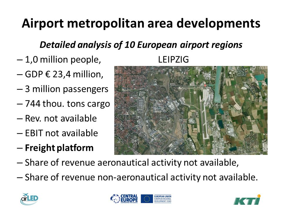 Airport metropolitan area developments Detailed analysis of 10 European airport regions – 1,0 million people, LEIPZIG – GDP 23,4 million, – 3 million passengers – 744 thou.