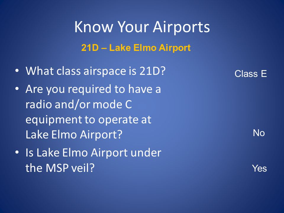 Know Your Airports 21D – Lake Elmo Airport What is the AWOS frequency at 21D? What is the Field Elevation? Which runway has a Precision Approach Path
