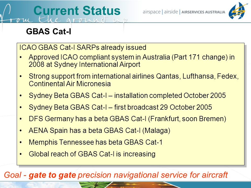Current Status ICAO GBAS Cat-I SARPs already issued Approved ICAO compliant system in Australia (Part 171 change) in 2008 at Sydney International Airp