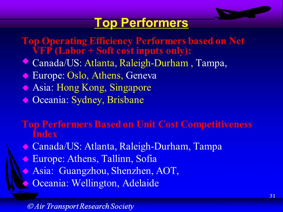 Air Transport Research Society 31 Top Performers Top Operating Efficiency Performers based on Net VFP (Labor + Soft cost inputs only): u Canada/US: At