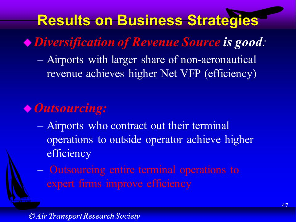 Air Transport Research Society 47 Results on Business Strategies u Diversification of Revenue Source is good: –Airports with larger share of non-aeron