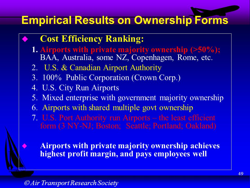 Air Transport Research Society 49 Empirical Results on Ownership Forms u Cost Efficiency Ranking: 1. Airports with private majority ownership (>50%);