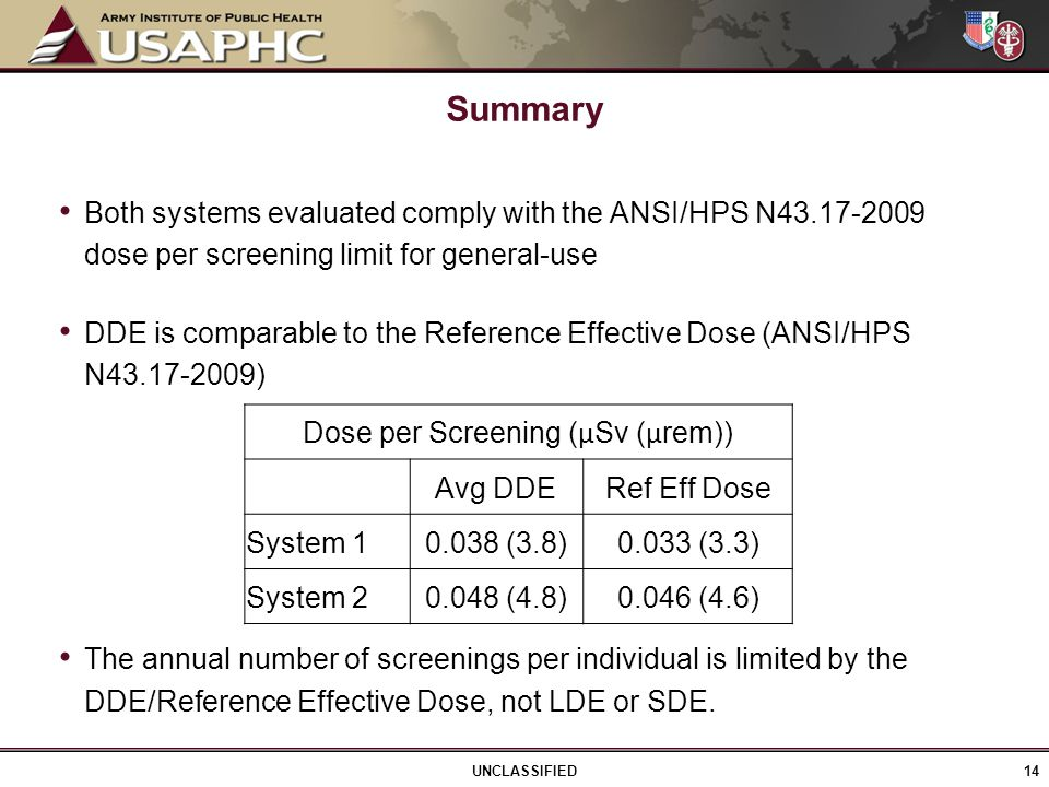 Both systems evaluated comply with the ANSI/HPS N43.17-2009 dose per screening limit for general-use DDE is comparable to the Reference Effective Dose