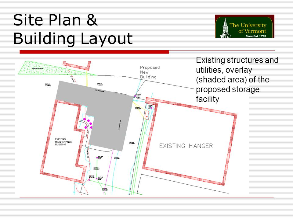 Site Plan & Building Layout Existing structures and utilities, overlay (shaded area) of the proposed storage facility