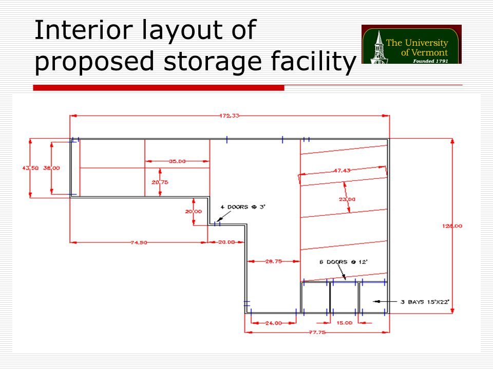 Interior layout of proposed storage facility