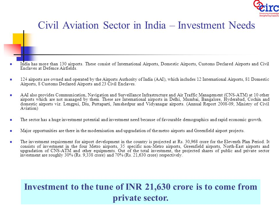 Civil Aviation Sector in India – Investment Needs India has more than 130 airports.